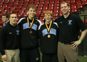 Photo of Andrew Follmann, Eric Harder and their coaches at States